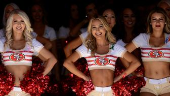 SAN FRANCISCO, CA - OCTOBER 07: San Francisco 49ers cheerleaders during the NFL football game between the Arizona Cardinals and the San Francisco 49ers on October 7, 2018, at Levi Stadium in Santa Clara, CA. (Photo by Cody Glenn/Icon Sportswire via Getty Images)
