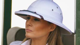 First lady Melania Trump looks out over Nairobi National Park in Nairobi, Kenya, Friday, Oct. 5, 2018, during a safari. First lady Melania Trump is visiting Africa on her first big solo international trip. (AP Photo/Carolyn Kaster)