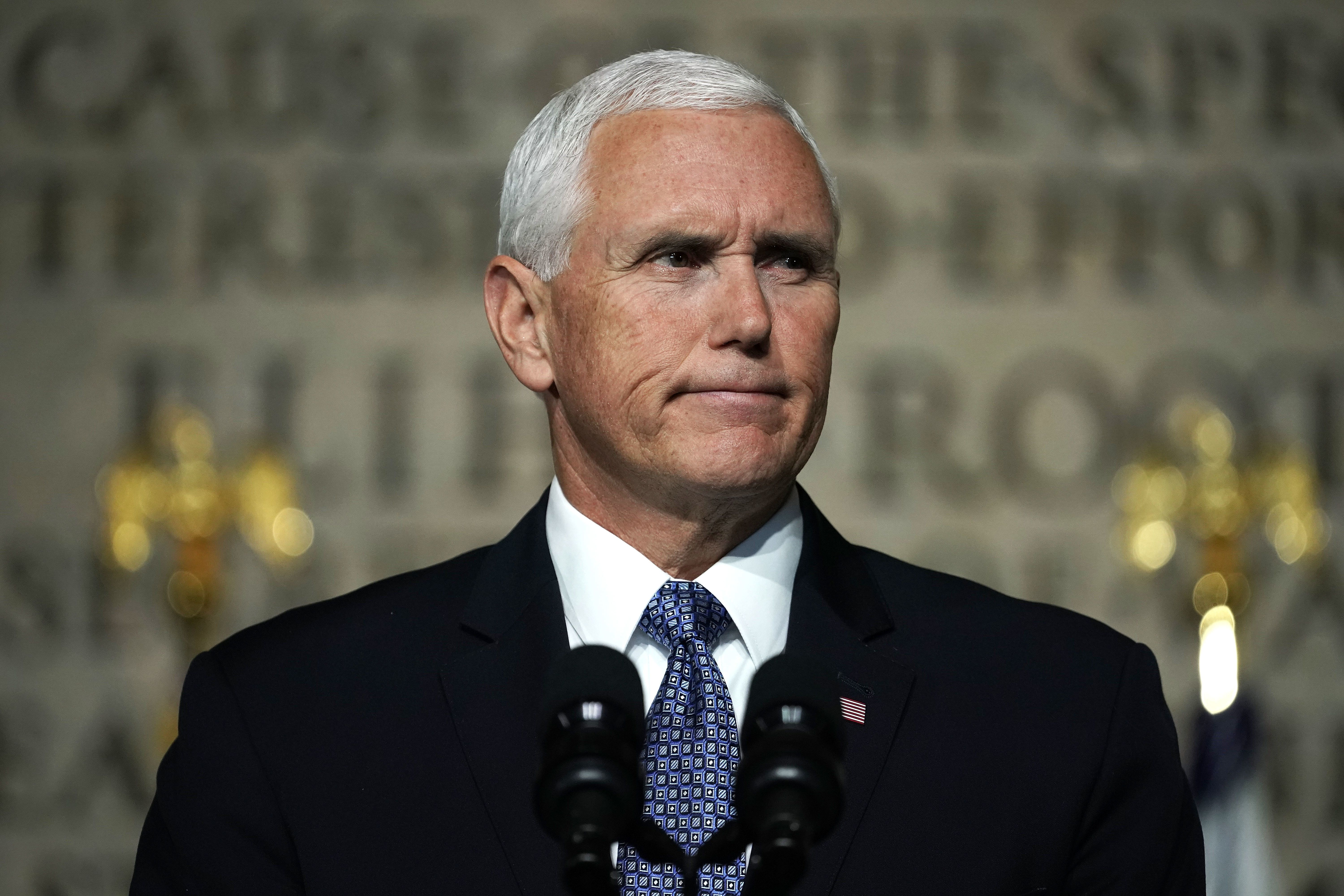 WASHINGTON, DC - OCTOBER 23:  U.S. Vice President Mike Pence speaks during the fourth meeting of the National Space Council at National Defense University at Fort McNair October 23, 2018 in Washington, DC. Vice President Pence held the meeting to discuss the progress for President Donald Trump's plan for a Space Force.  (Photo by Alex Wong/Getty Images)
