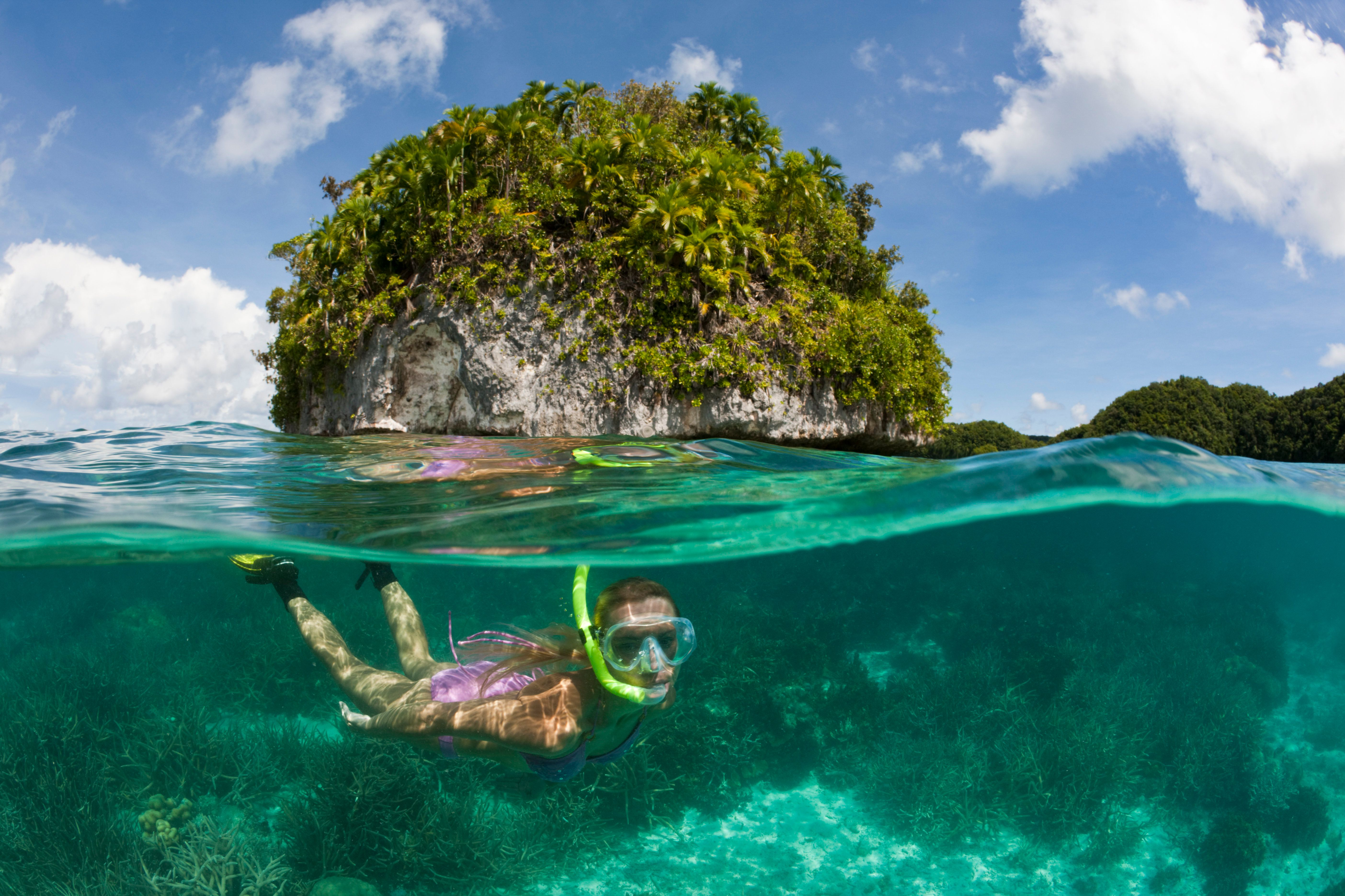 (GERMANY OUT) Tourist snorkeling at Palau, Micronesia, Palau  (Photo by Reinhard Dirscherl/ullstein bild via Getty Images)