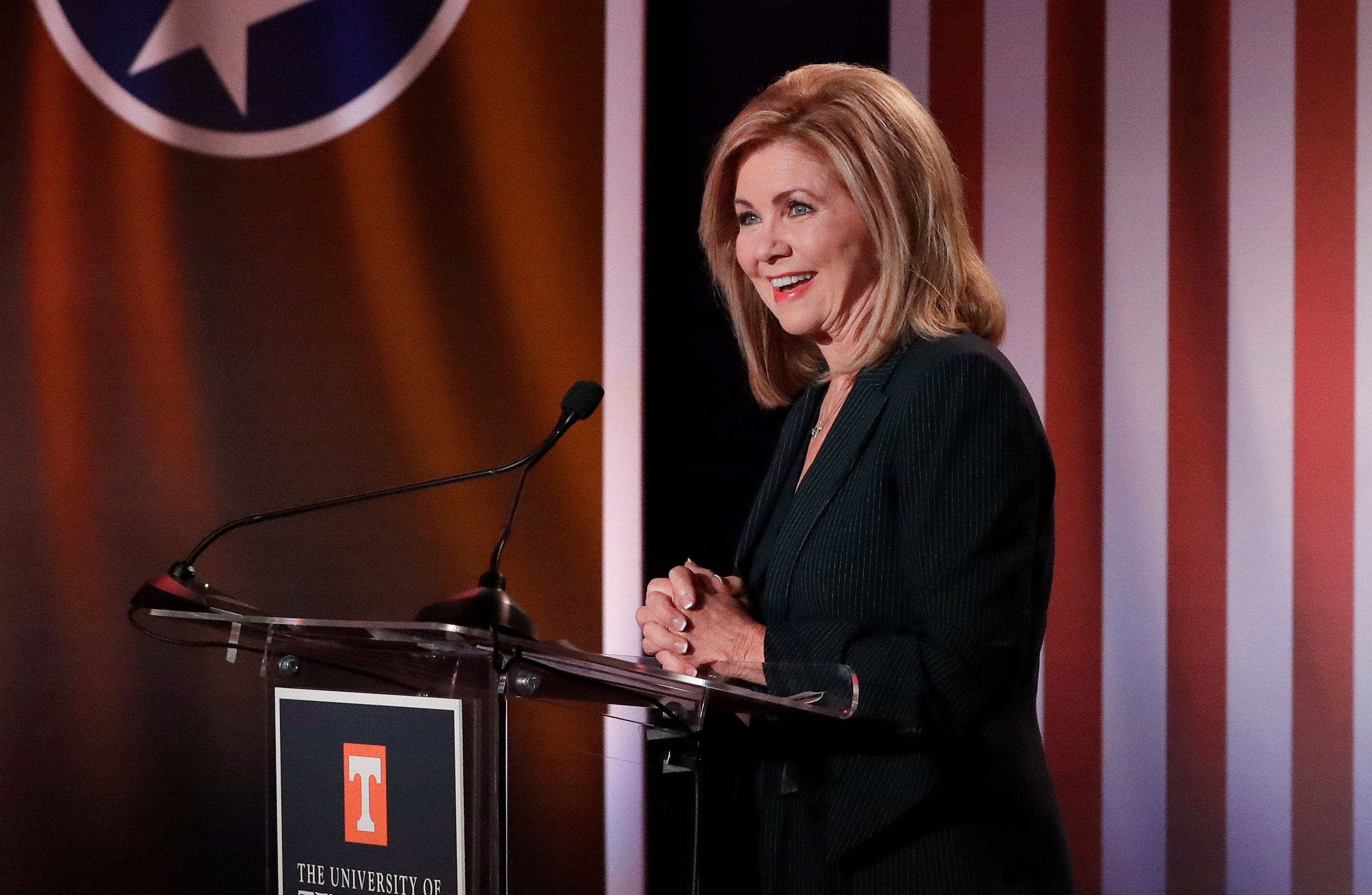 Republican U.S. Rep. Marsha Blackburn speaks during the 2018 Tennessee U.S. Senate Debate at The University of Tennessee Wednesday, Oct. 10, 2018, in Knoxville, Tenn. (AP Photo/Mark Humphrey)