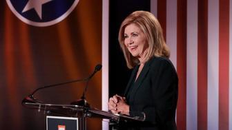 Republican U.S. Rep. Marsha Blackburn speaks during the 2018 Tennessee U.S. Senate Debate at The University of Tennessee Wednesday, Oct. 10, 2018, in Knoxville, Tenn. (AP Photo/Mark Humphrey)