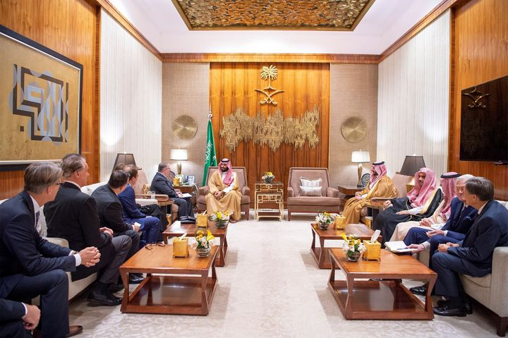 Saudi Crown Prince Mohammed bin Salman meets with American evangelical Christian leaders on November 1, 2018.
