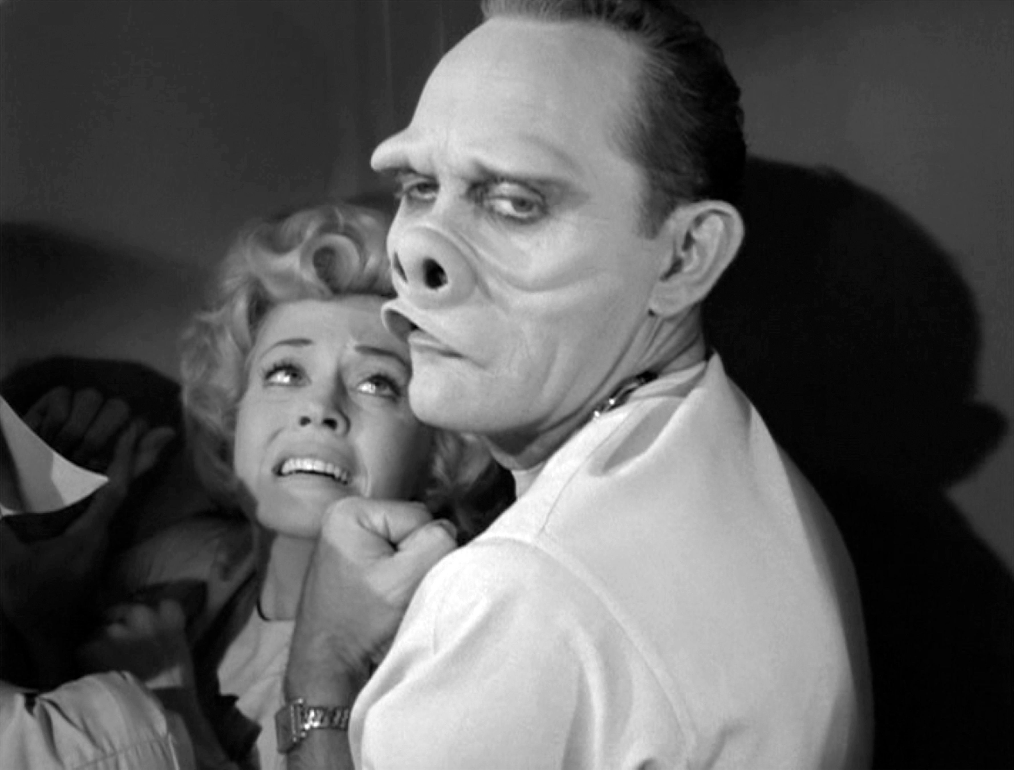 LOS ANGELES - NOVEMBER 11: Twilight Zone episode 'Eye of the Beholder', written by Rod Serling. Donna Douglas as patient and William D. Gordon as the doctor. Originally broadcast on November 11, 1960. Season 2, episode 6. Image is a frame grab. (Photo by CBS via Getty Images)