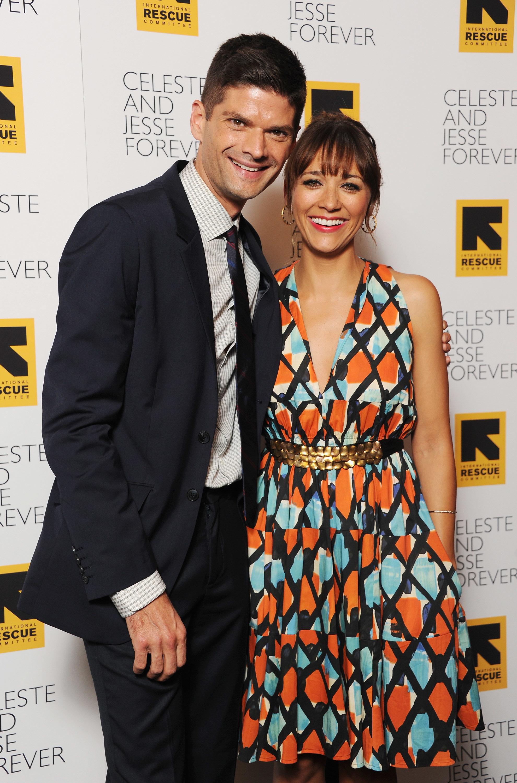 "Writer Will McCormack and actress Rashida Jones attend the ""Celeste and Jessie"" New York premiere at Sunshine Landmark on Aug"