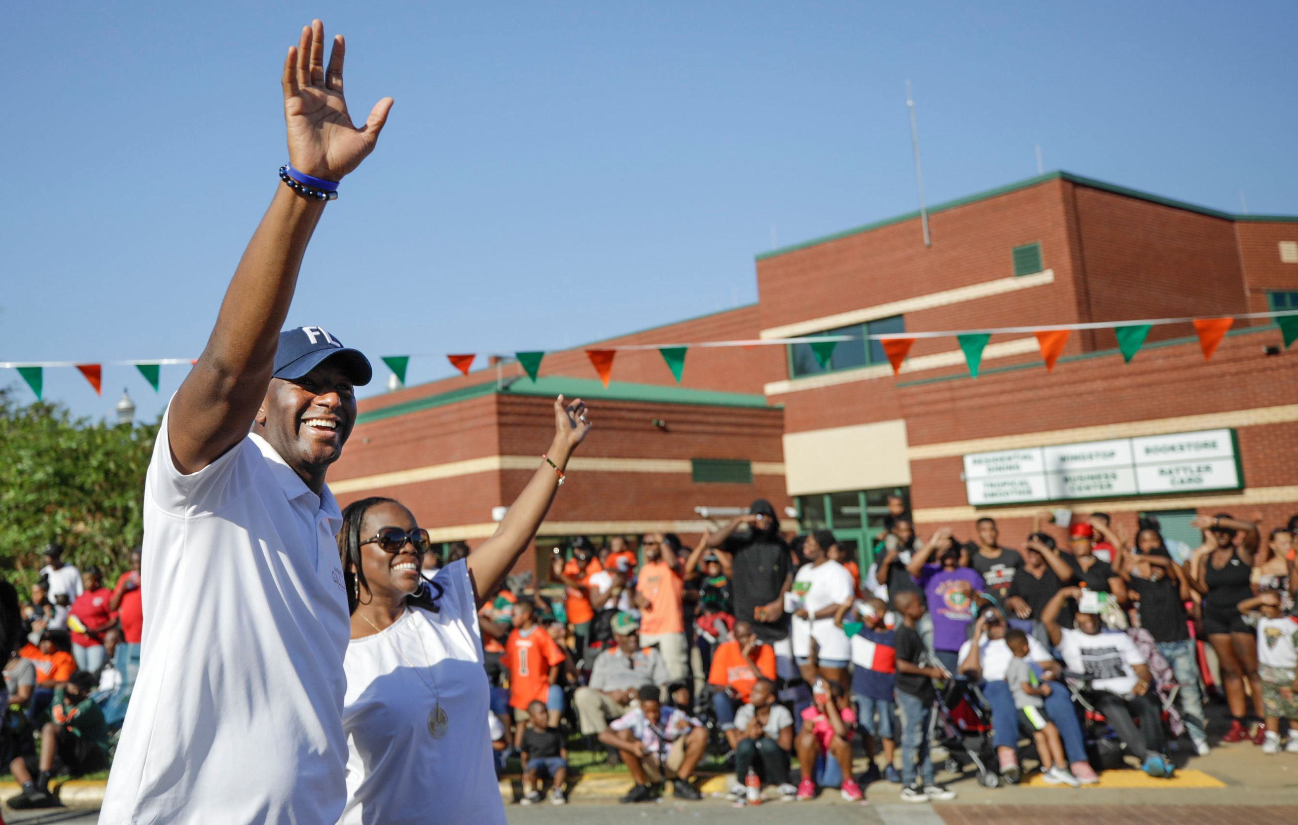 Andrew Gillum and his wife, R. Jai Gillum, at the FAMU homecoming parade. He's a Rattler, having graduated from th