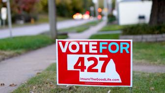 In this Oct. 17, 2018 photo, a yard sign promoting Initiative 427, the Medicaid Expansion Initiative, is seen in Omaha, Neb. For nearly a decade, opposition to Obama's health care law has been a winning message for Nebraska Republicans, helping them take every statewide office, dominate the Legislature and hold all of the state's congressional seats. But in the upcoming general election, even the most strident opponents of the Affordable Care Act are acknowledging an odd reality: there's a good chance the voters who support them will also approve a ballot measure expanding Medicaid. (AP Photo/Nati Harnik)