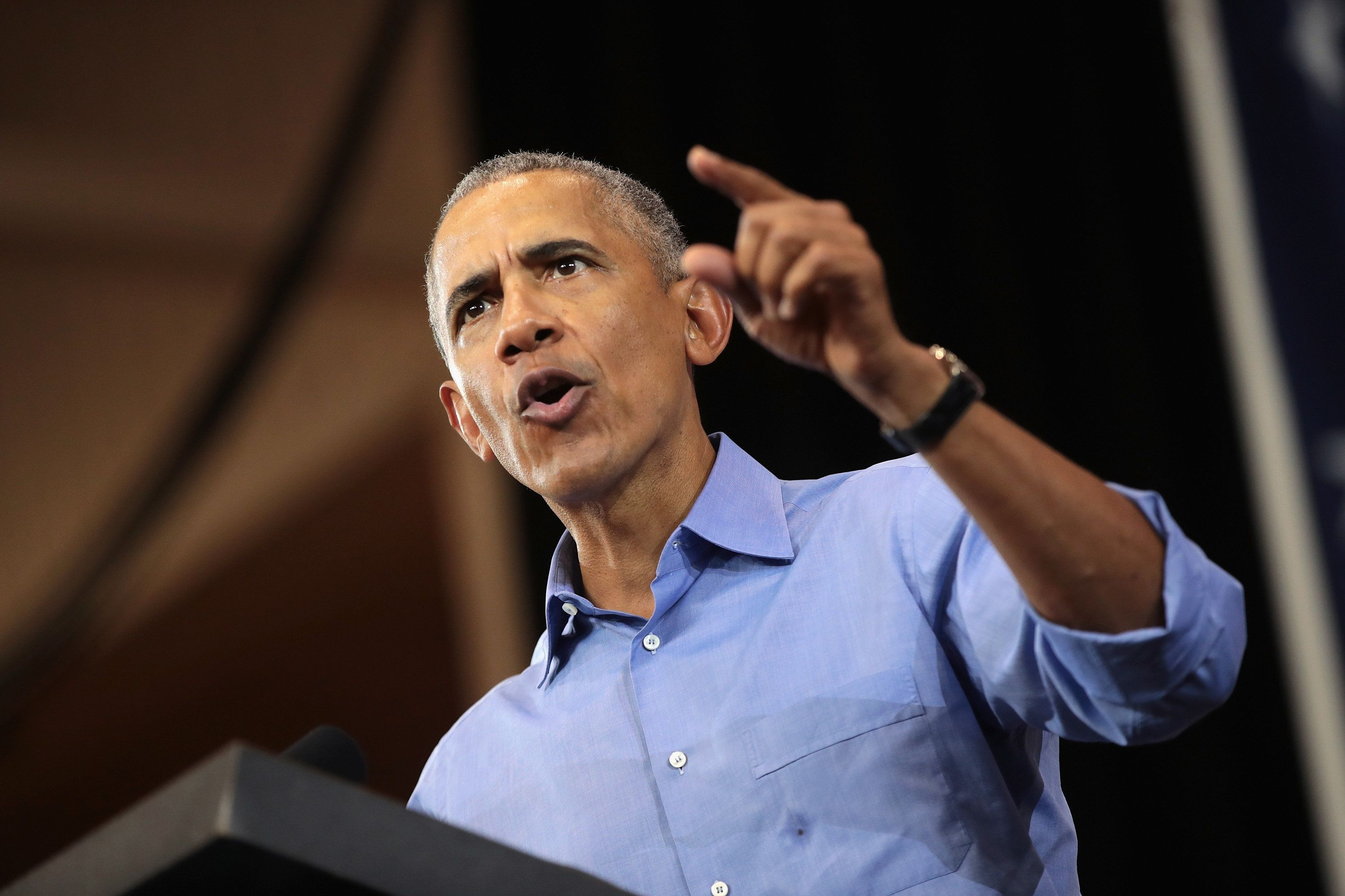 MILWAUKEE, WI - OCTOBER 26:  Former President Barack Obama campaigns for Wisconsin Democratic candidates during a rally at North Division High School on October 26, 2018 in Milwaukee, Wisconsin. About 3,500 people attended the capacity event and another 600 watched from an overflow space.  (Photo by Scott Olson/Getty Images)