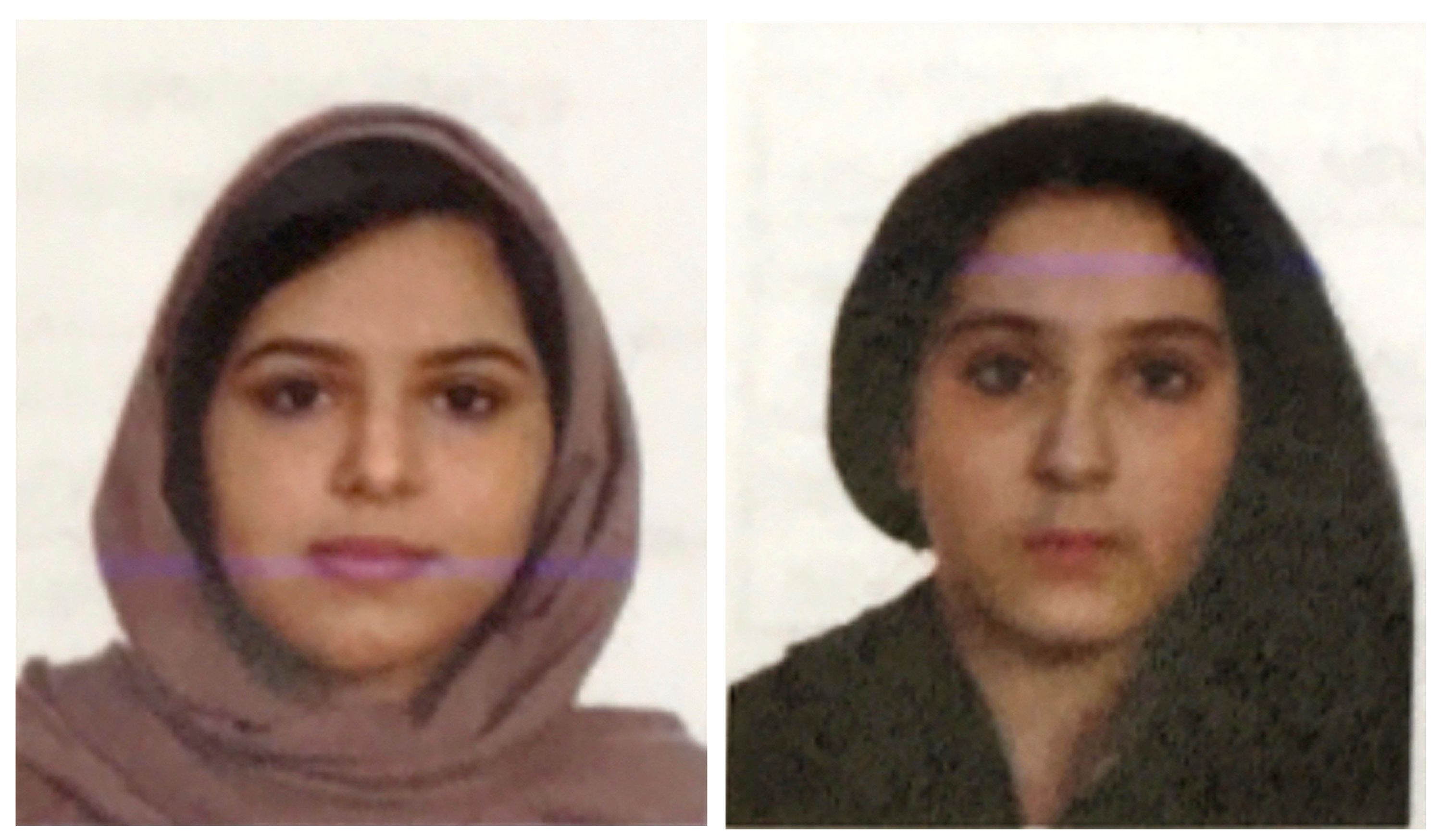 These two undated photos provided by the New York City Police Department (NYPD) show sisters Rotana, left, and Tala Farea, whose fully clothed bodies, bound together with tape and facing each other, were discovered on on the banks of New York City's Hudson River waterfront on Oct. 24, 2018. The Farea sisters from Saudia Arabia, Rotana, 22 and Tala, 16, had been living in Fairfax, Virgina and were reported missing in August. Their mother told detectives the day before the bodies were discovered, she received a call from an official at the Saudi Arabian Embassy, ordering the family to leave the U.S. because her daughters had applied for political asylum, New York police said Tuesday Oct. 30, 2018. (NYPD via AP)