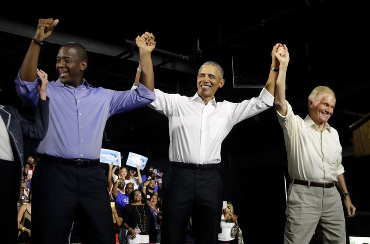 Former President Barack Obama rallies with Democratic gubernatorial candidate Andrew Gillum (left) and Democratic Senate cand