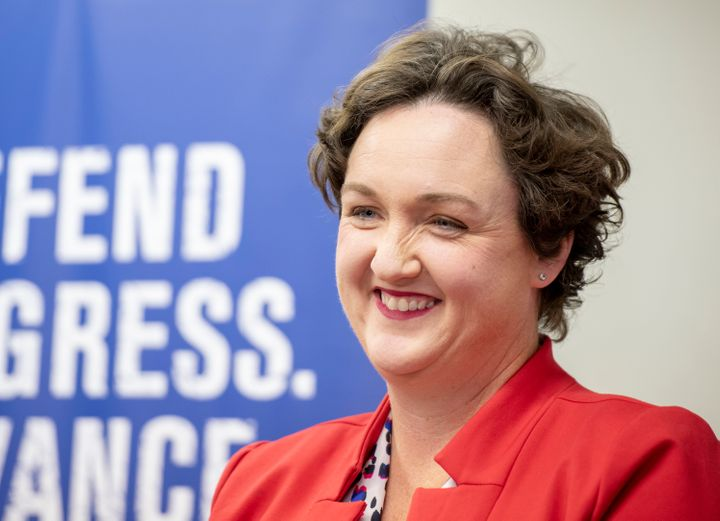 Katie Porter speaks at a Human Rights Campaign volunteer kickoff in Tustin, California, on Oct. 15, 2018.