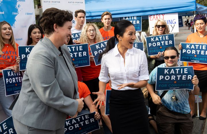 Katie Porter campaigns alongside former Olympic figure skater Michelle Kwan at the University of California, Irvine campus.
