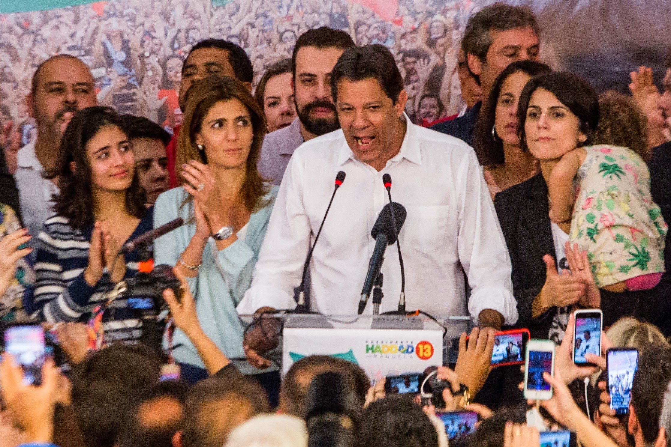 SAO PAULO, BRAZIL - OCTOBER 28: Presidential candidate for the Workers' Party (PT) Fernando Haddad (C) speaks in Sao Paulo after being defeated by Jair Bolsonaro on second round of the general elections in Brazil, on October 28, 2018. (Photo by Carla Carniel/Anadolu Agency/Getty Images)