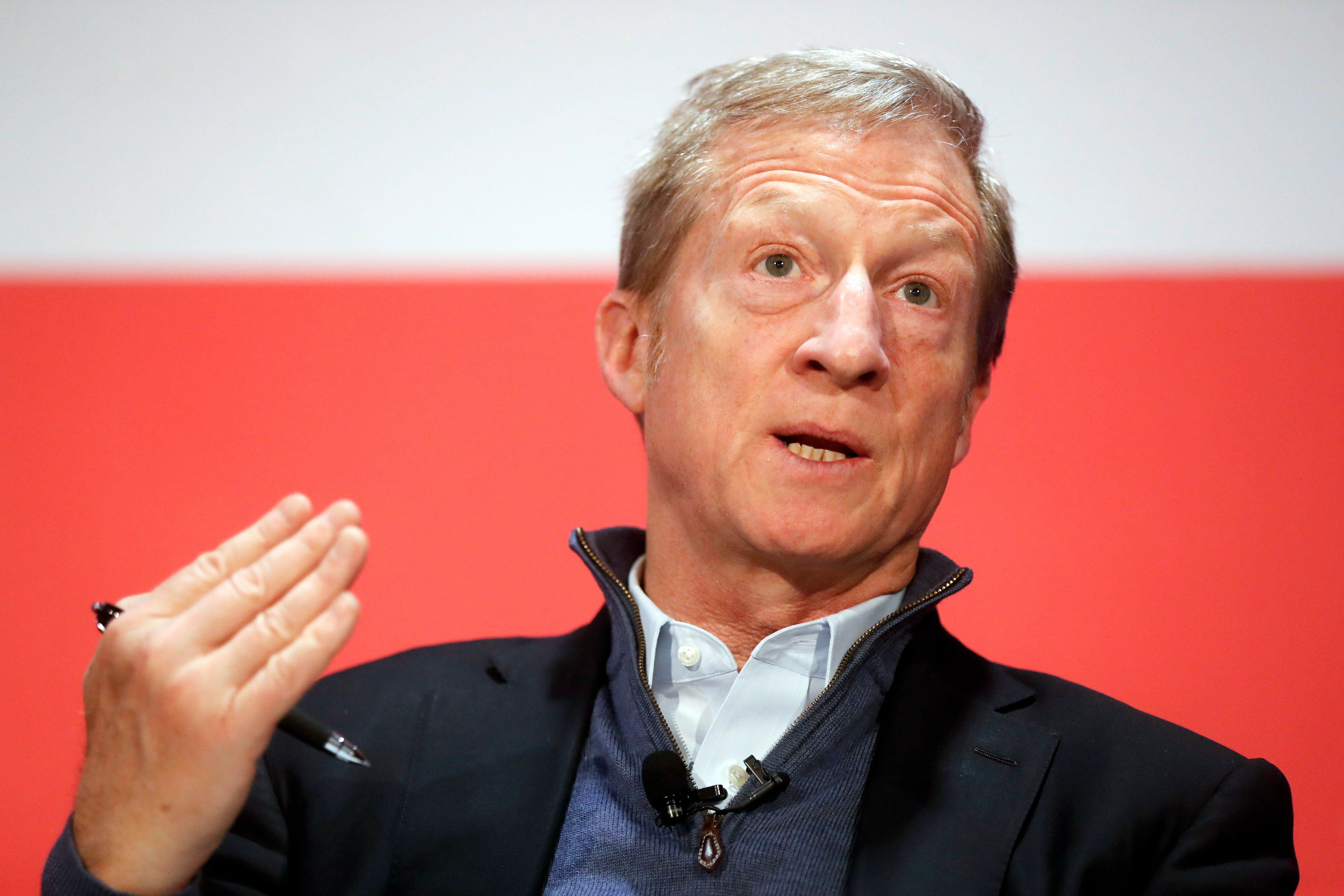 "Political activist Tom Steyer speaks during a ""Need to Impeach"" town hall event at the Clifton Cultural Arts Center, Friday, March 16, 2018, in Cincinnati. Steyer, a billionaire activist also involved in environmental causes, founded the ""Need to Impeach"" petition campaign on claims that President Donald Trump meets the criteria for impeachment. The event kicks-off a national tour in an effort to generate support. (AP Photo/John Minchillo)"