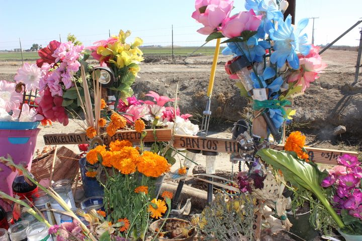 A shrine sits next to a Delano road where Marcelina and Santos Garcia died in a car crash while fleeing U.S. Immigration and