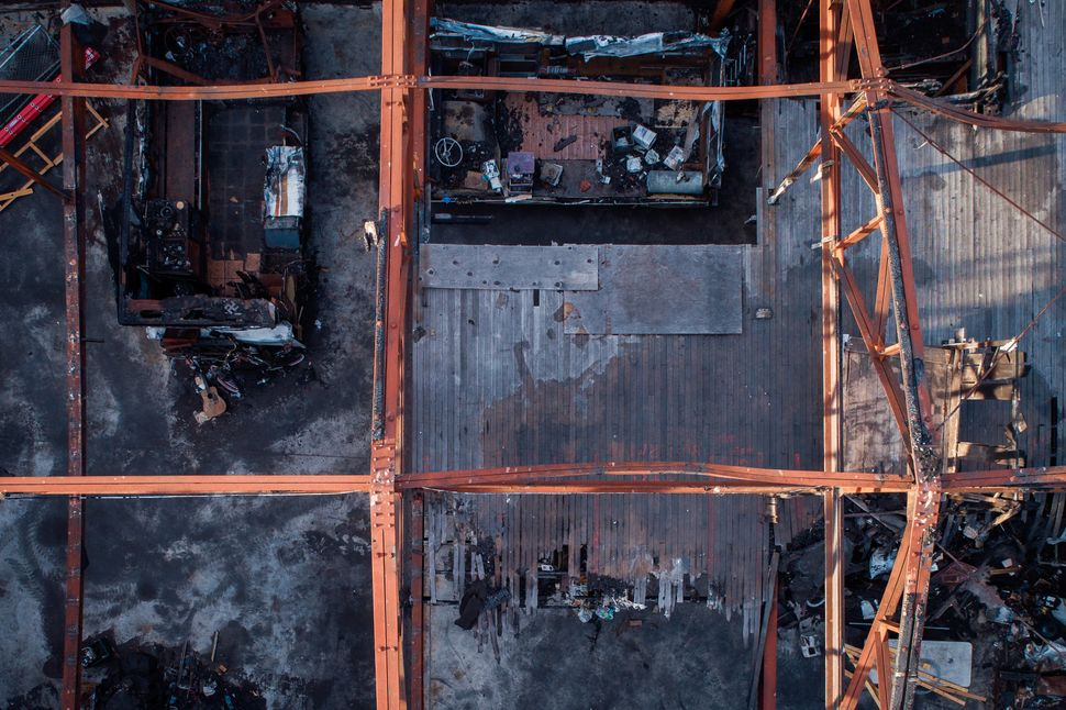 Looking down into the remains of Ghost Ship warehouse, photographed in August