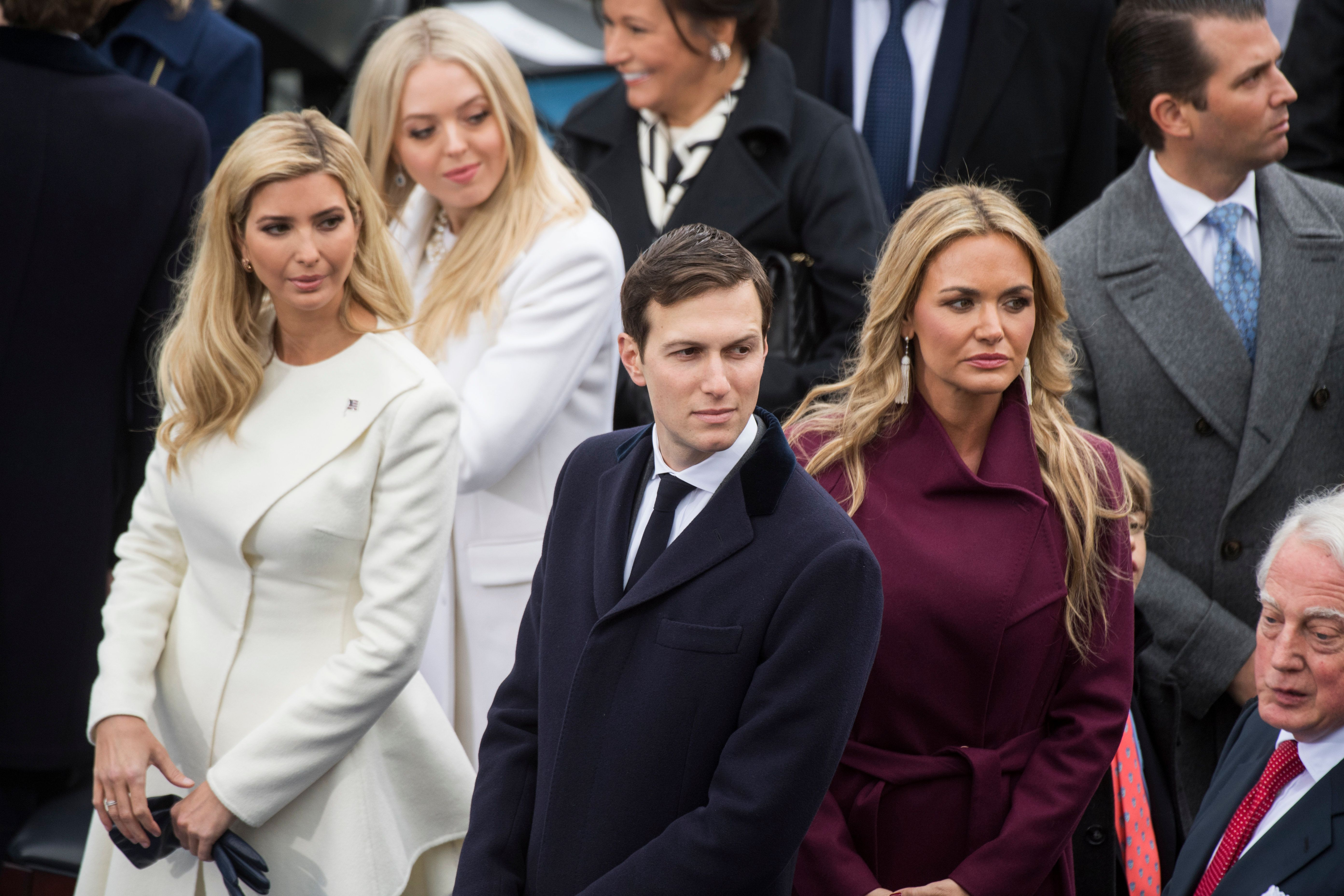 UNITED STATES - JANUARY 20: Jared Kushner, husband of Ivanka Trump, left, waits for the arrival of his father-in-law Donald J. Trump, on the West Front of the Capitol before Trump was sworn in as the 45th President of the United States, January 20, 2017. (Photo By Tom Williams/CQ Roll Call)