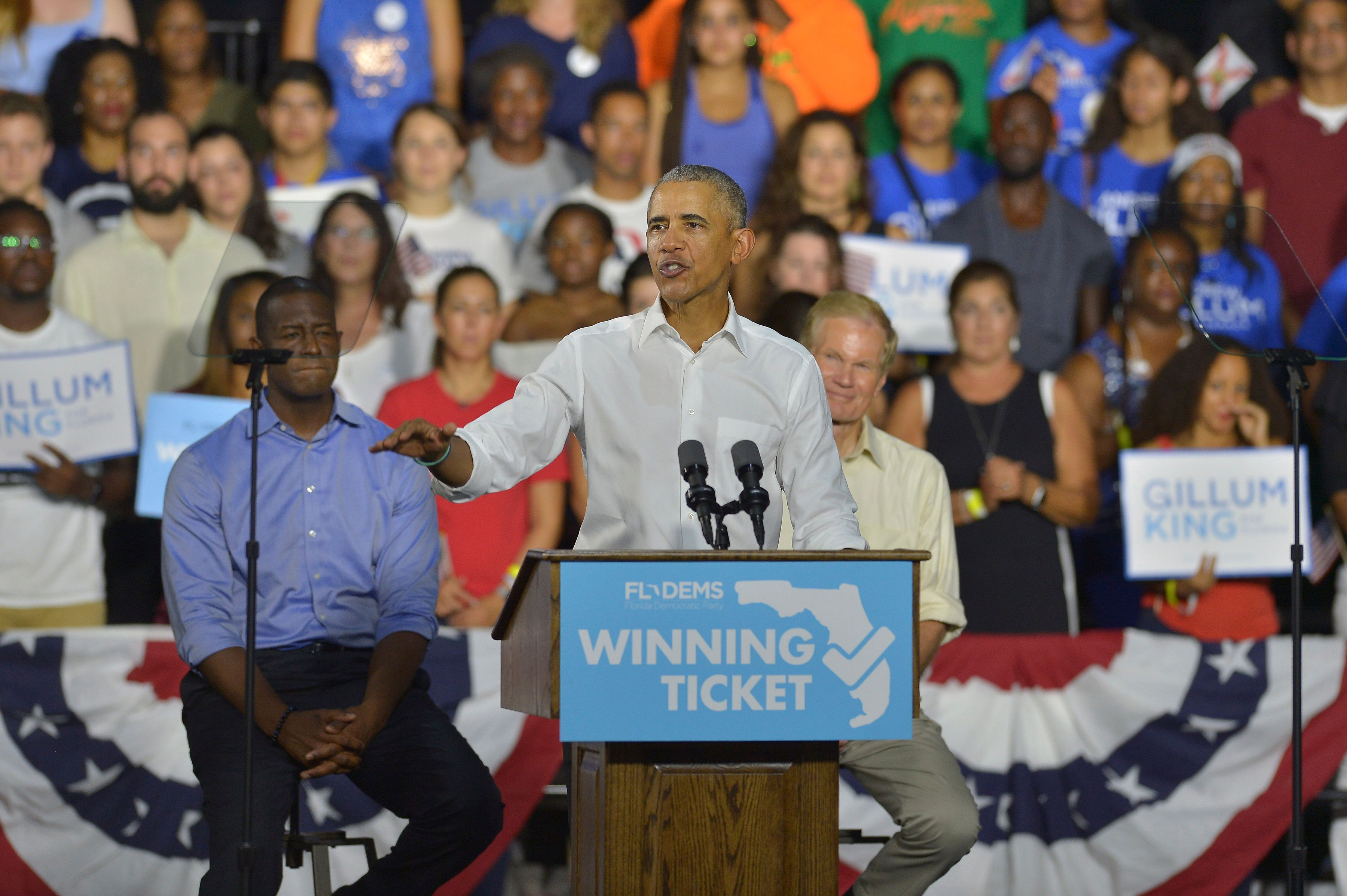 MIAMI, FLORIDA - NOVEMBER 02: Former U.S. President Barack Obama speaks during a rally to support Florida Democratic gubernatorial candidate Andrew Gillum and U.S. Senator Bill Nelson (D-FL) at the Ice Palace film studios on November 02, 2018 in Miami, Florida. Senator Nelson (D-FL) and candidate Andrew Gillum are in tight races against their Republican opponents. Credit: MPI10 / MediaPunch /IPX
