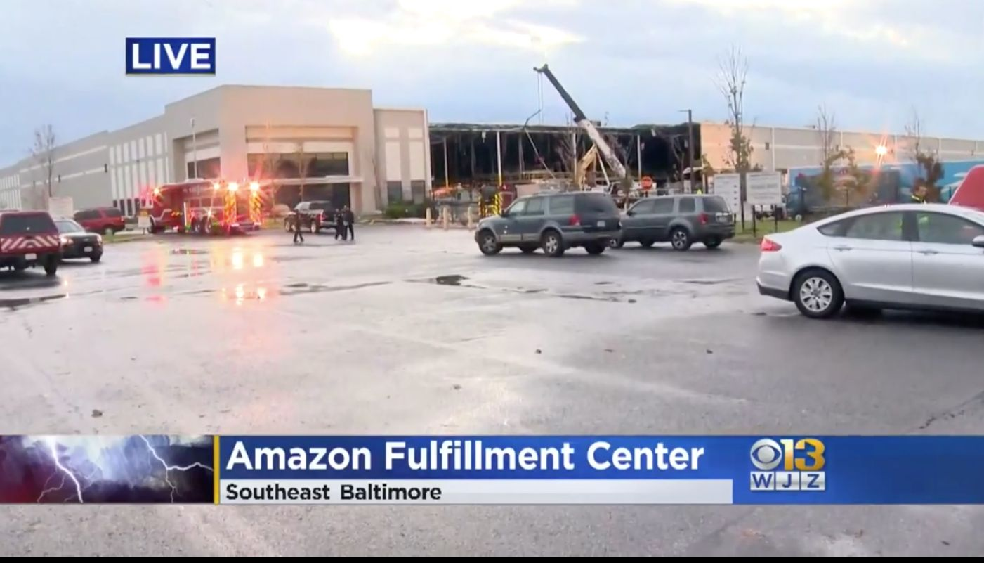 A wall collapsed at an Amazon warehouse in Baltimore Friday night, killing two people.