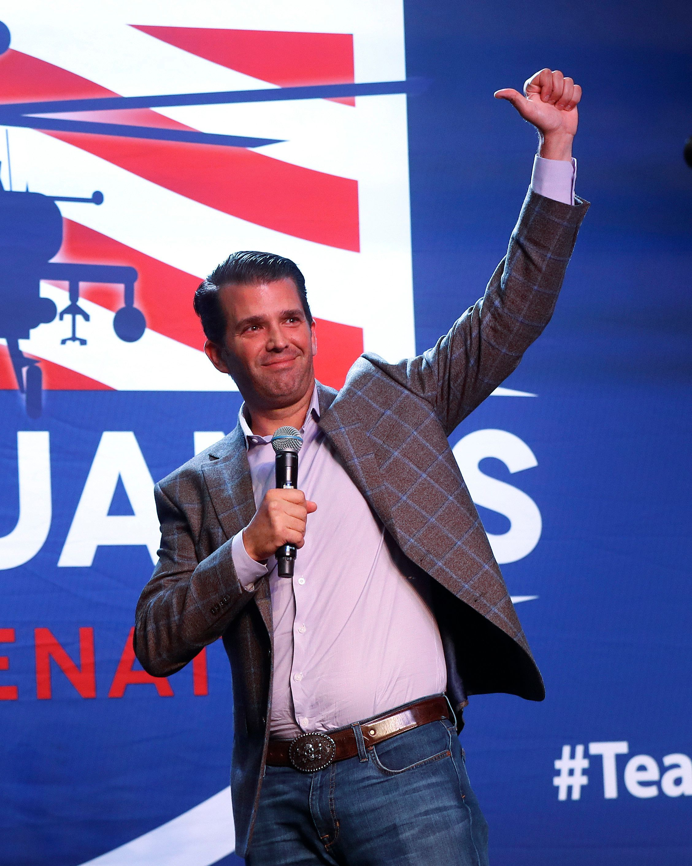 Donald Trump Jr., appears during a rally for Republican U.S. Senate candidate John James in Pontiac, Mich., Wednesday, Oct. 17, 2018. (AP Photo/Paul Sancya)