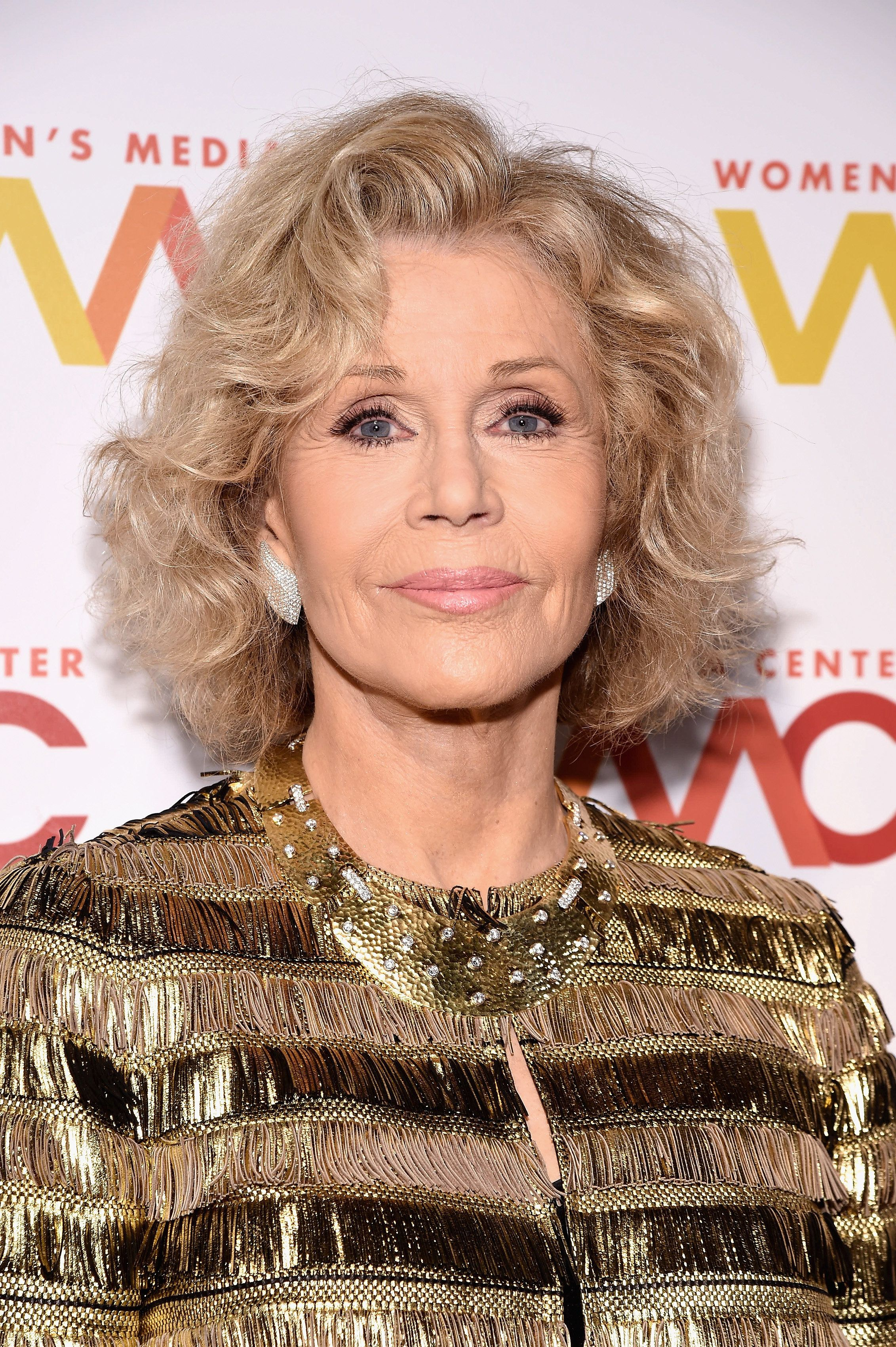 """Talking to reporters at the Women's Media Awards, Jane Fonda said that U.S. democracy is """"fragile and under attack."""""""