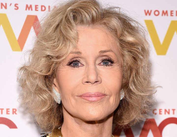"Talking to reporters at the Women's Media Awards, Jane Fonda said that U.S. democracy is ""fragile and under attack."""