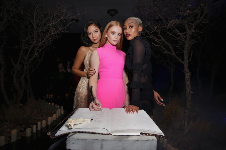 Actors Adeline Rudolph, Abigail Cowe and Tati Gabrielle at the premiere event.