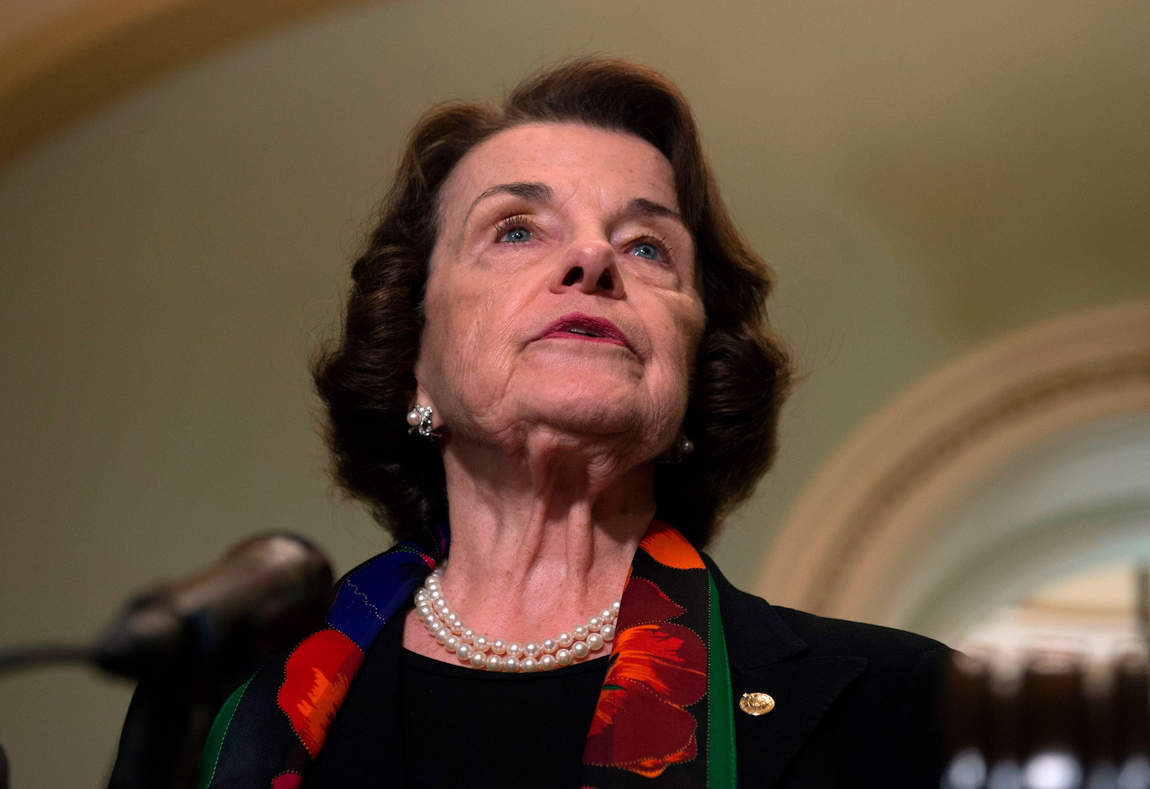 Democratic US Senator Dianne Feinstein speaks during a press briefing about the recent FBI investigation into US Supreme Court nominee Brett Kavanaugh on Capitol Hill in Washington, DC on October 4, 2018. - Top Democrats on Thursday denounced the latest FBI investigation into sexual assault allegations against Kavanaugh as 'incomplete' and 'limited.' 'It looks to be a product of an incomplete investigation that was limited, perhaps by the White House, I don't know,' Feinstein said. (Photo by ANDREW CABALLERO-REYNOLDS / AFP)        (Photo credit should read ANDREW CABALLERO-REYNOLDS/AFP/Getty Images)