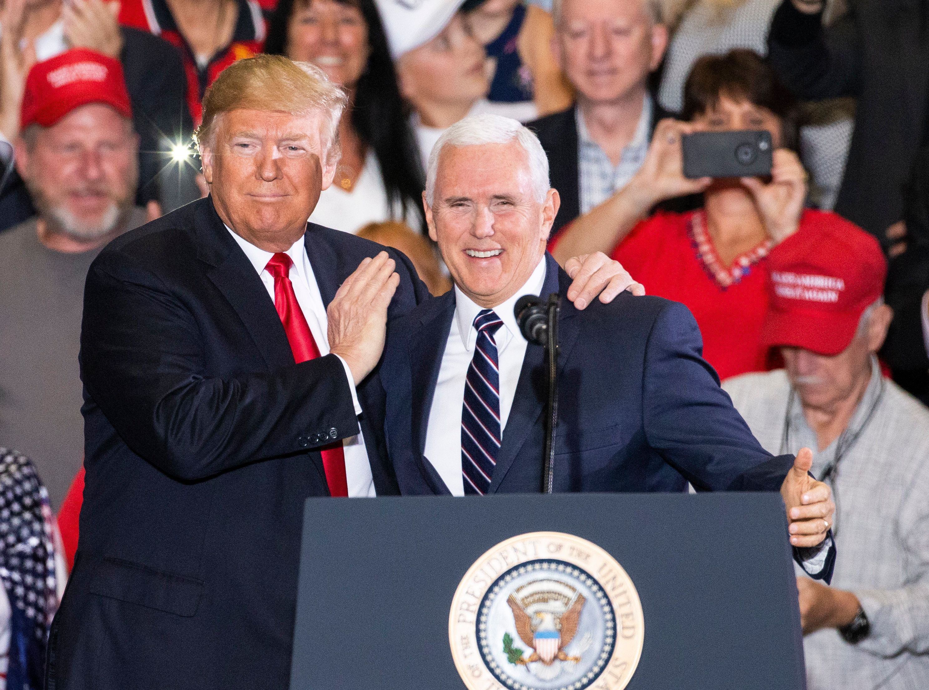 PENSACOLA, FL - NOVEMBER 03: U.S. President Donald Trump and Vice President Mike Pence at a campaign rally at the Pensacola International Airport on November 3, 2018 in Pensacola, Florida. President Trump is campaigning in support of Republican candidates in the upcoming midterm elections. (Photo by Mark Wallheiser/Getty Images)