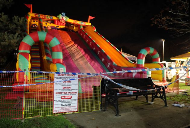 Barriers were erected around the slide later on Saturday