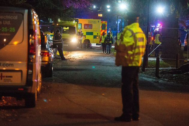 Dozens of emergency vehicles descended on the site, close to Woking, Surrey, on Saturday