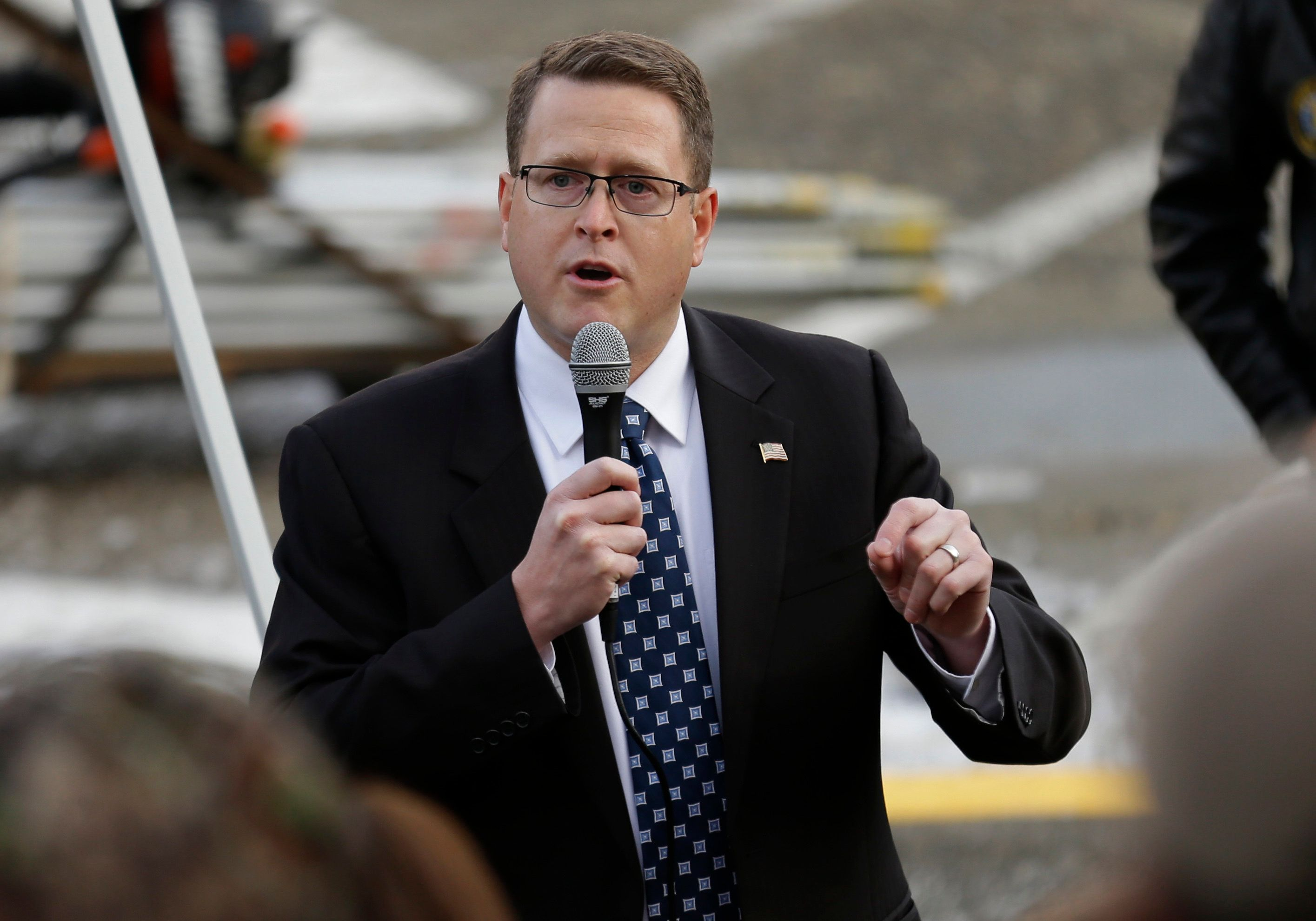 """FILE - In this Jan. 13, 2017 file photo Rep. Matt Shea, R-Spokane, speaks at a gun-rights rally, at the Capitol in Olympia, Wash.Shea, is facing intense criticism for distributing a document describing how a """"Holy Army"""" should kill people who flout """"biblical law,"""" with some campaign donors asking for their contributions back. (AP Photo/Ted S. Warren,File)"""