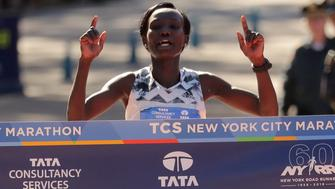 Athletics - New York City Marathon - New York City, New York, U.S. - November 4, 2018  Kenya's Mary Keitany crosses the finish line to win the Professional Women's race  REUTERS/Brendan McDermid
