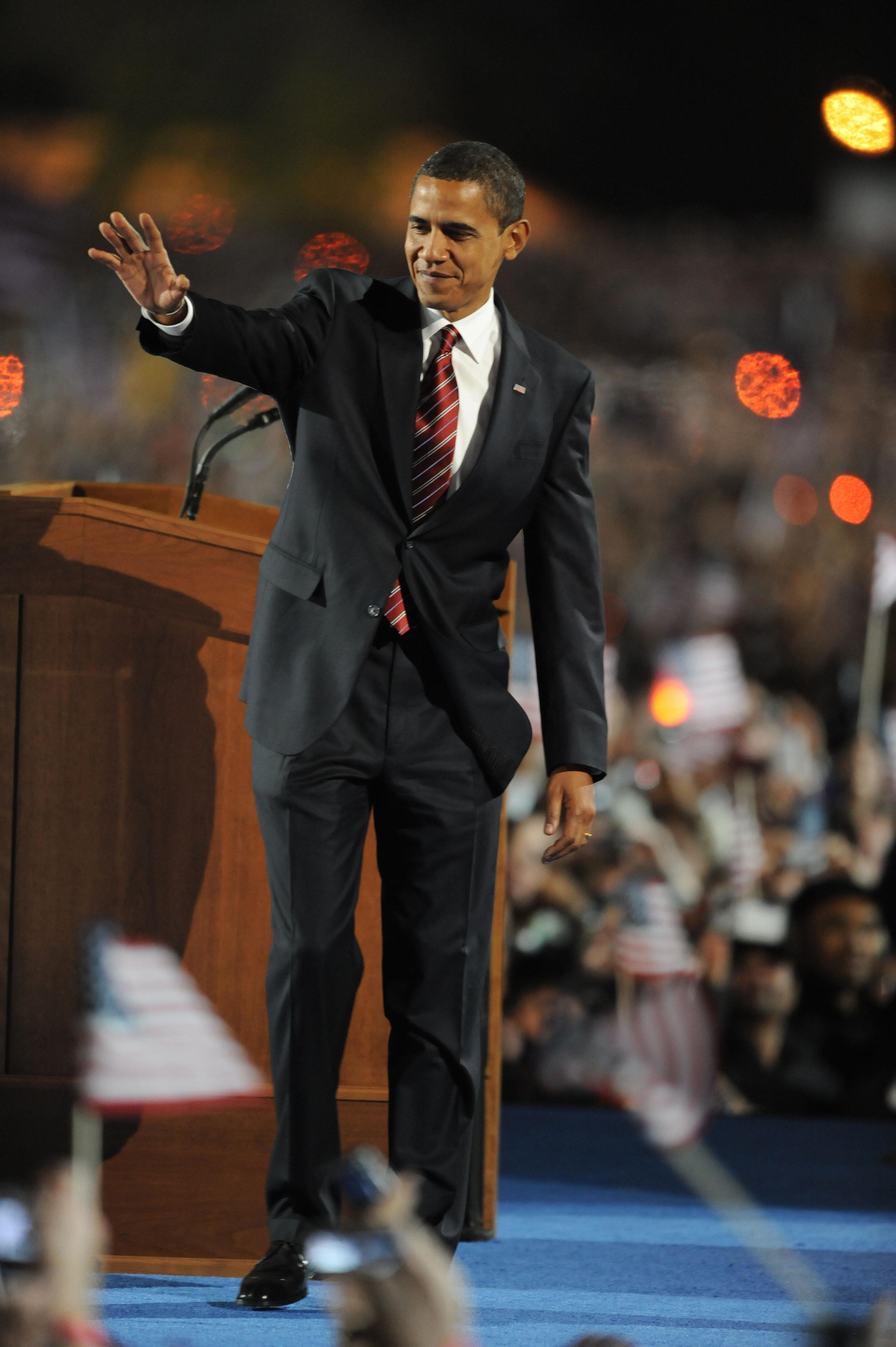 President-elect Barack Obama addresses supporters during his election night rally at Grant Park on November 4, 2008 in Chicago, Illinois. AFP PHOTO/Jewel SAMAD (Photo credit should read JEWEL SAMAD/AFP/Getty Images)