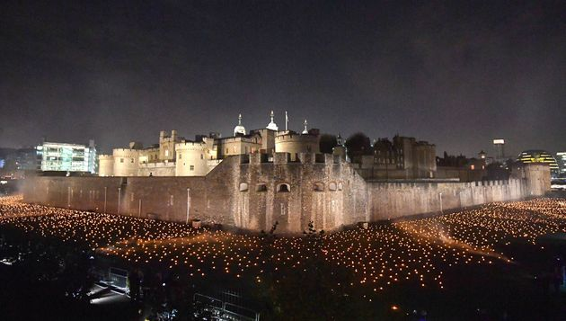 Thousands of flames in the dry moat of the Tower of London as part of an installation called Beyond the Deepening Shadow: The Tower Remembers, to mark the centenary of the end of First World War.