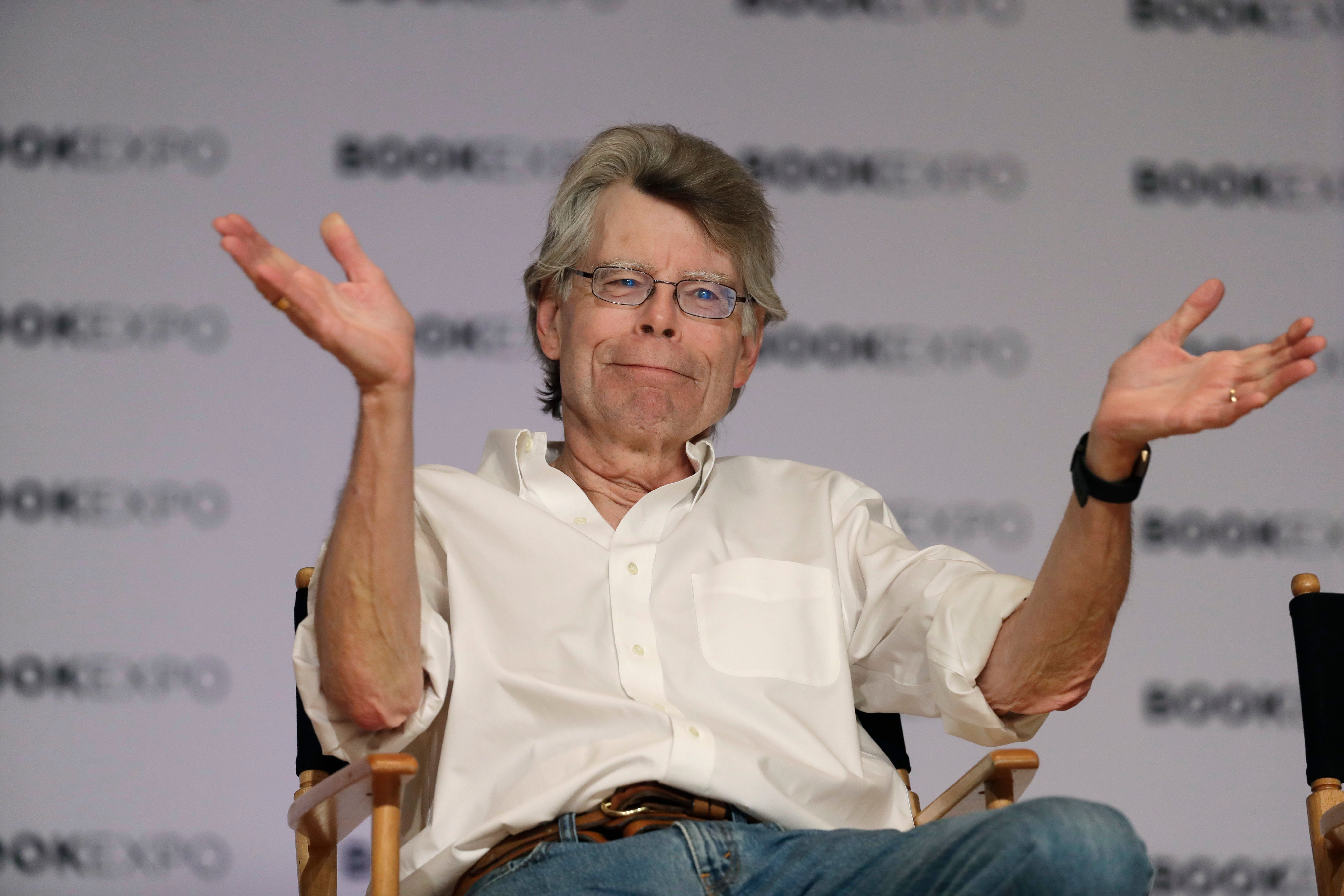 Author Stephen King speaks at Book Expo America, Thursday, June 1, 2017, in New York. King and his son, Owen, have co-written a novel, Sleeping Beauties, to be published in September. (AP Photo/Mark Lennihan)