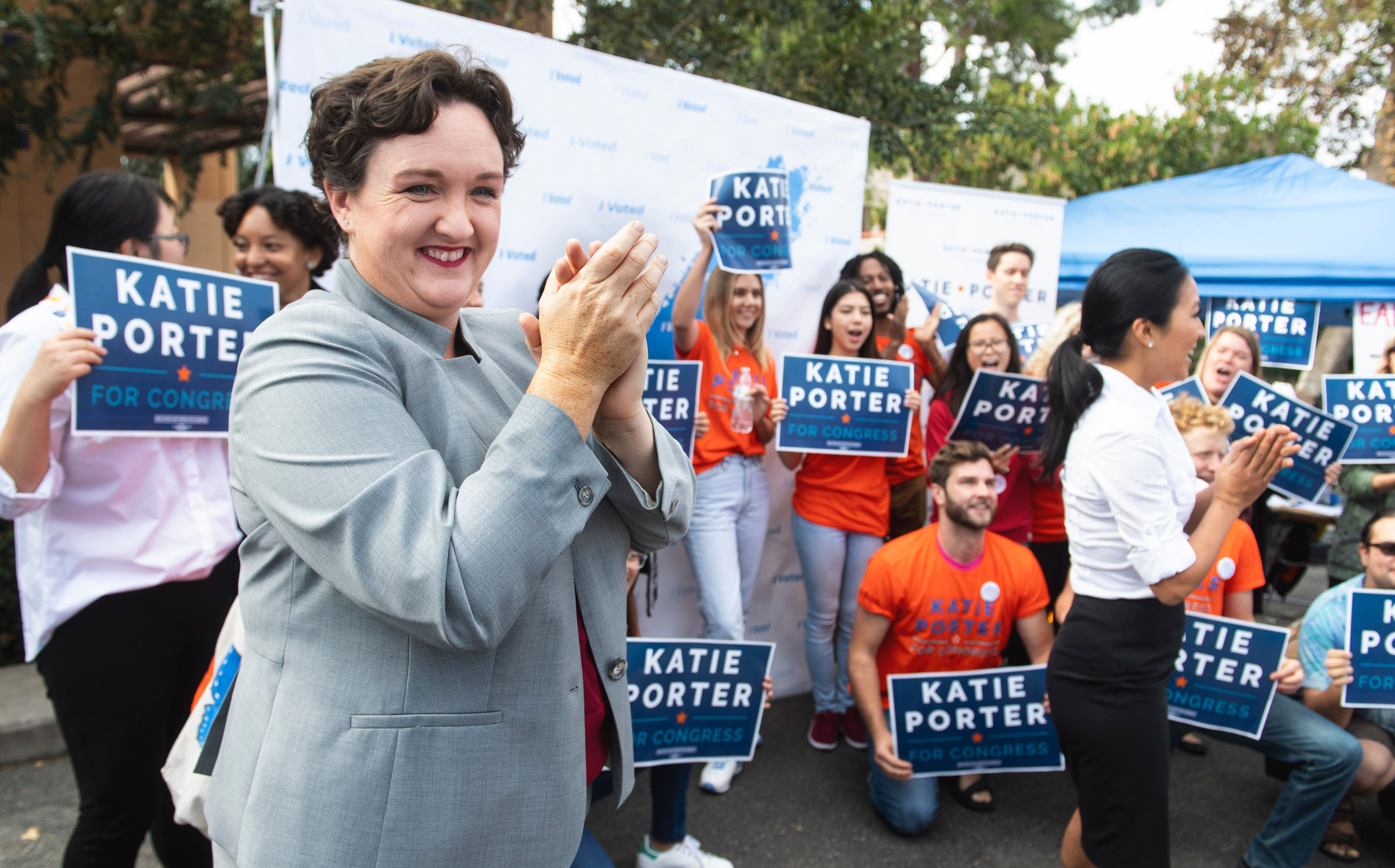 IRVINE, CA - OCTOBER 30: Katie Porter, who is running against Mimi Walters for the state congressional seat in the 45th district, speaks to supporters at the University of California, Irvine on Tuesday, October 30, 2018. Porter was voting early at a portable poll location at the university. (Photo by Paul Bersebach/Digital First Media/Orange County Register via Getty Images)