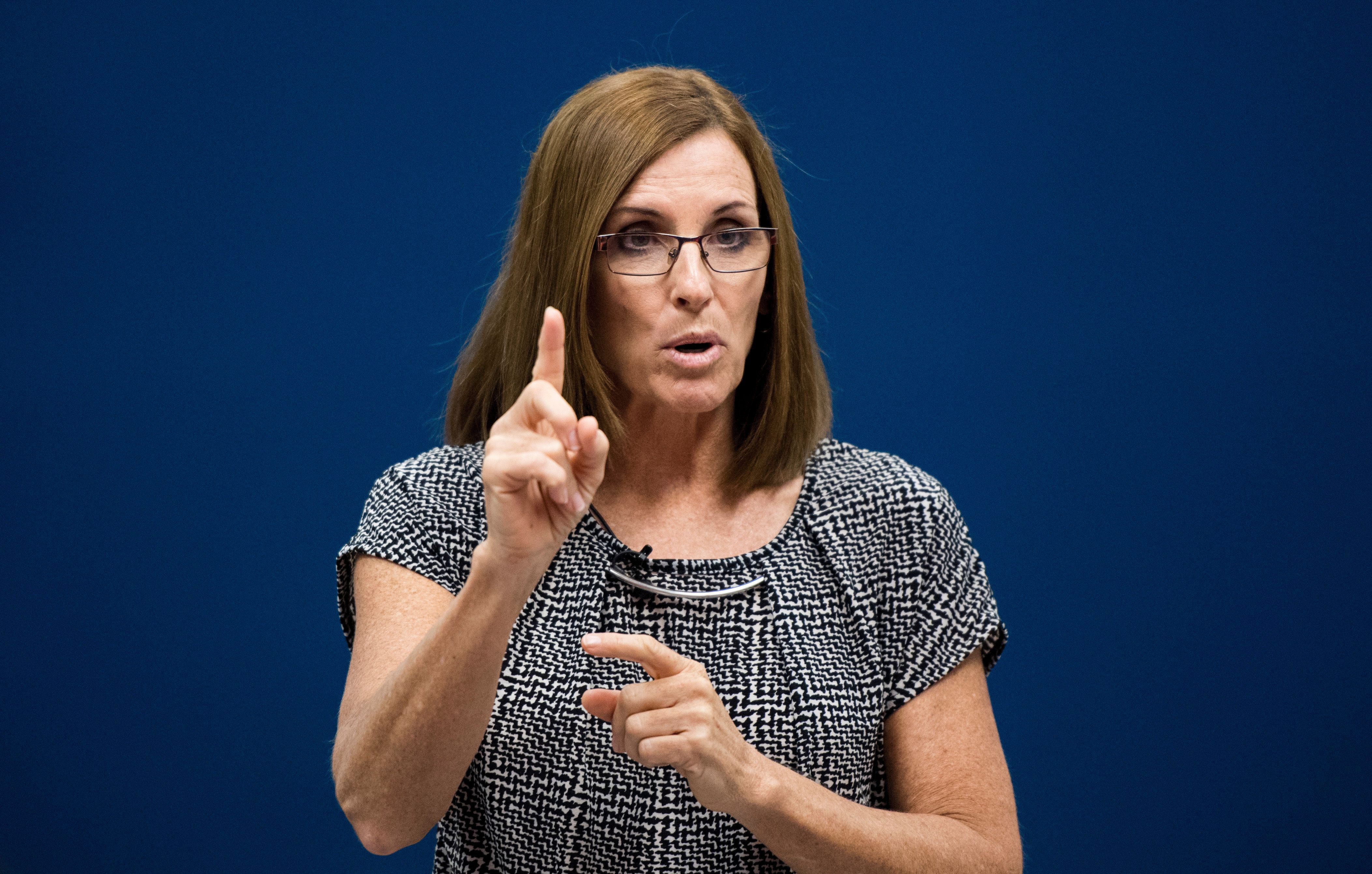 UNITED STATES - OCTOBER 24: GOP candidate for Senate Rep. Martha McSally, R-Ariz., speaks to students after touring the Universal Technical Institute in Avondale, Ariz., outside of Phoenix on Wednesday, Oct. 24, 2018. (Photo By Bill Clark/CQ Roll Call)