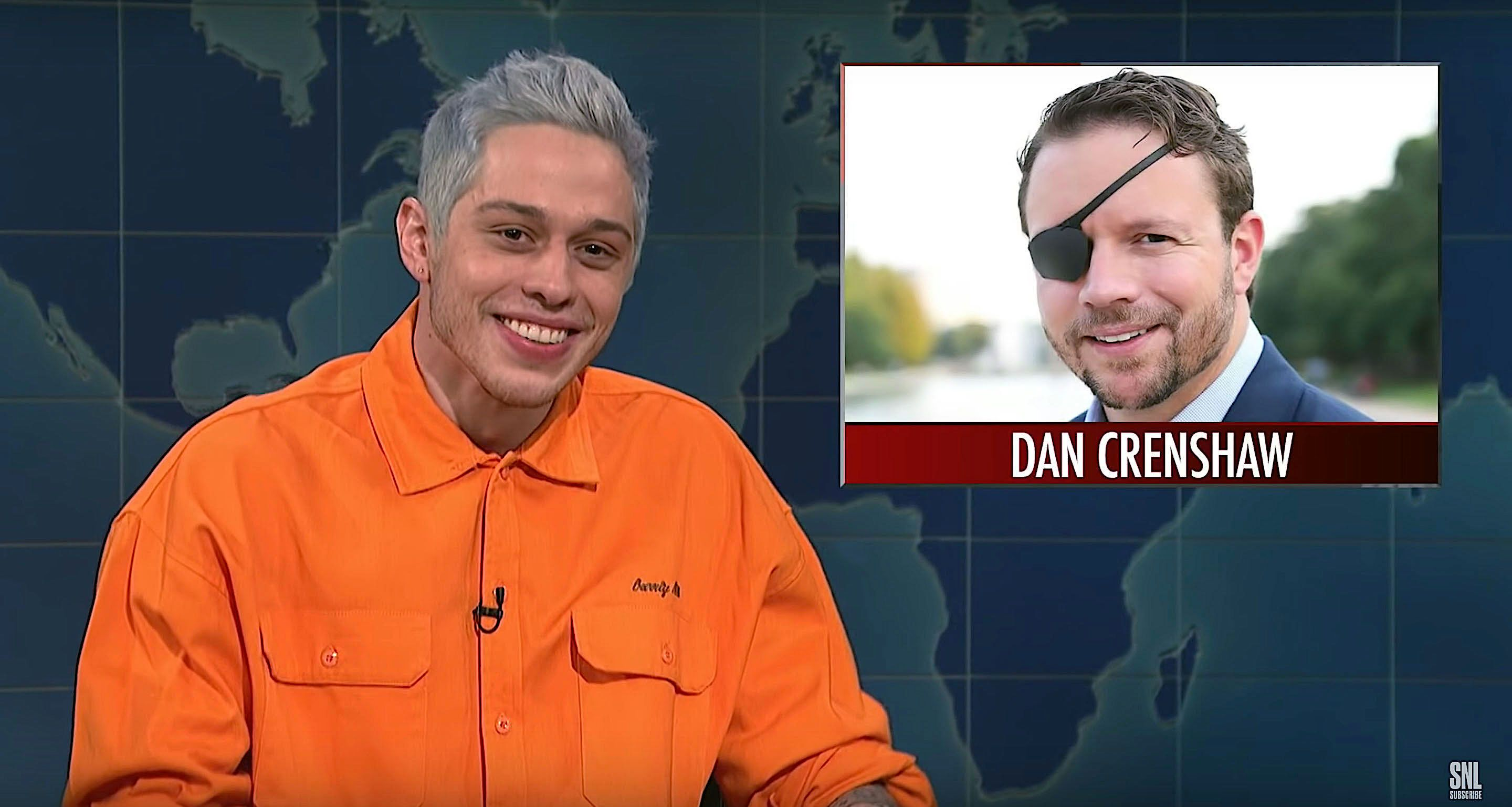 """Pete Davidson on """"Saturday Night Live"""" described Dan Crenshaw, a former Navy Seal, as looking like a hitman in a porno movie. Crenshaw lost his eye while serving in Afghanistan."""