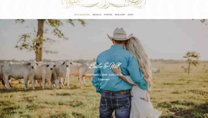 The couple's page on The Knot remains active.