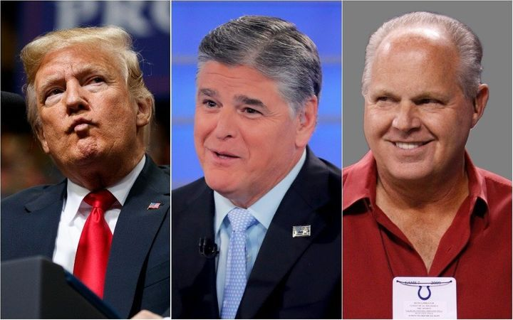(L to R) President Trump, Fox News host Sean Hannity and conservative radio host Rush Limbaugh will all be present at a rally