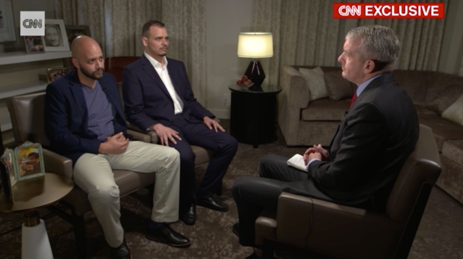 Abdullah Khashoggi (left) beside his brother, Salah Khashoggi (right) during an interview with CNN on Sunday.
