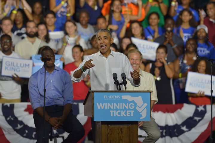 Former President Barack Obama speaks during a rally to support Florida Democratic gubernatorial candidate Andrew Gillum and U