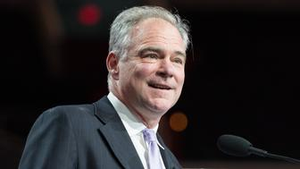 WASHINGTON, D C , UNITED STATES - 2017/03/27: Senator Tim Kaine addressing the 2017 American Israel Public Affairs Committee (AIPAC) Policy Conference in Washington, D.C. (Photo by Michael Brochstein/SOPA Images/LightRocket via Getty Images)