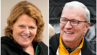 FILE - This combination of file photos shows North Dakota U.S. Senate candidates in the November 2018 election from left, incumbent Democratic Sen. Heidi Heitkamp and her Republican challenger Kevin Cramer. (AP Photo/Bruce Crummy, File)