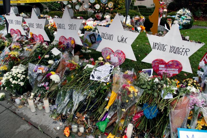 Outside the Tree of Life synagogue in Pittsburgh on Nov. 3, a memorial to victims of the Oct. 27 mass shooting.&nbs