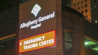 Entrance to the Emergency Trauma Center at Allegheny General Hospital, where authorities say Saturday's Tree of Life synagogue shooting suspect Robert Bowers is hospitalized, is pictured in Pittsburgh, Pennsylvania, U.S., October 27, 2018.   REUTERS/John Altdorfer