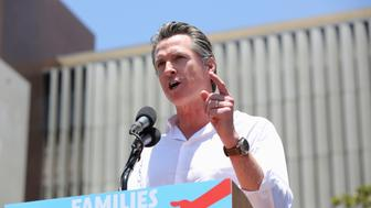 "California Lieutenant Governor Gavin Newsom speaks during a national day of action called ""Keep Families Together"" to protest the Trump administration's ""Zero Tolerance"" policy in Los Angeles, California, U.S. June 30, 2018. REUTERS/Monica Almeida"