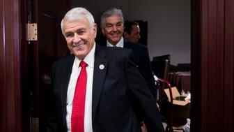 UNITED STATES - FEBRUARY 14: Rep. John Carter, R-Texas, followed by Rep. Roger Williams, R-Texas, leaves the House Republican Conference meeting in the basement of the Capitol on Tuesday, Feb. 14, 2017. (Photo By Bill Clark/CQ Roll Call) *** Please Use Credit from Credit Field ***