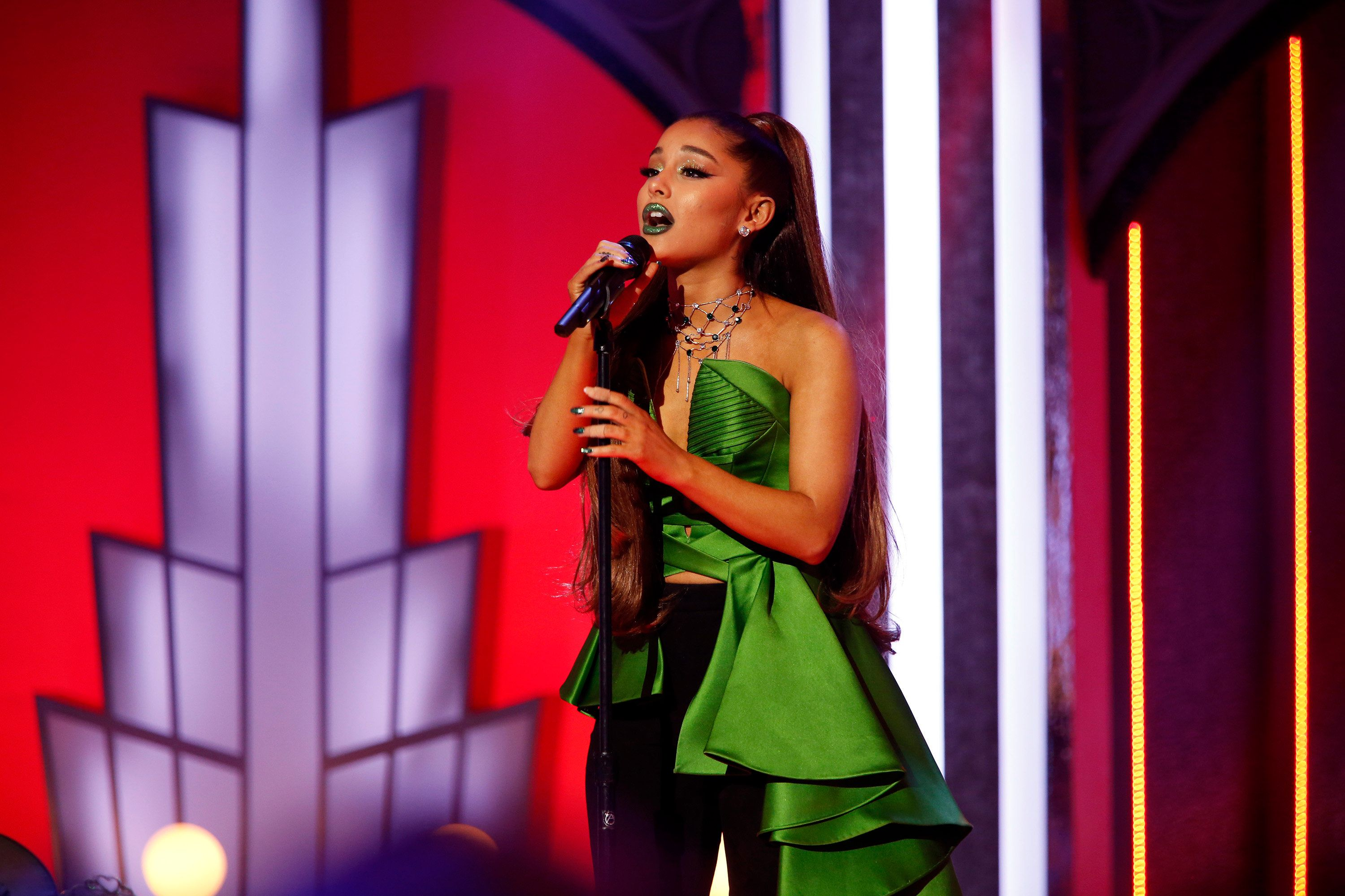 A VERY WICKED HALLOWEEN: CELEBRATING 15 YEARS ON BROADWAY -- Pictured: Ariana Grande -- (Photo by: Eric Liebowitz/NBC/NBCU Photo Bank via Getty Images)